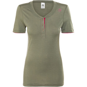 Aclima Lightwool Henley Women Ranger Green/Persian Red